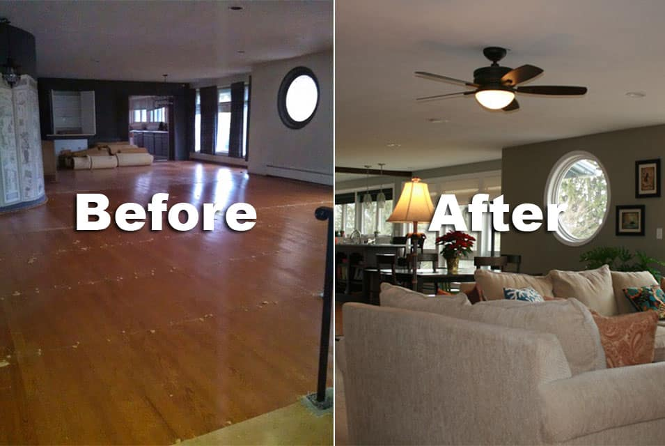 Before after 2 pro 39 s construction - Living room renovation before and after ...