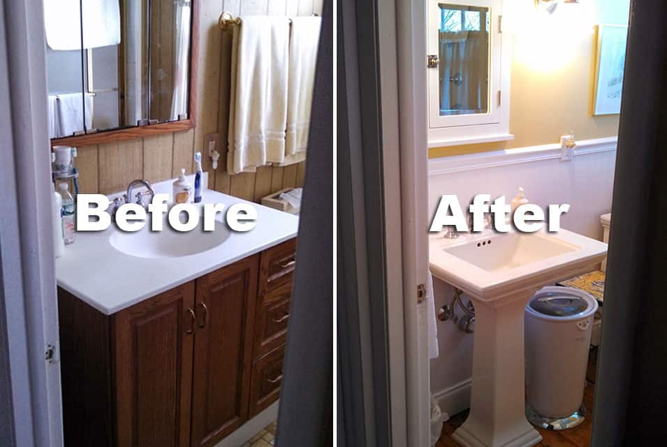 Before after 2 pro 39 s construction for Historic bathroom remodel
